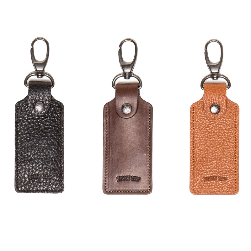 Barber Shop Clipper Leather Keyring Holder with SD Card Slots