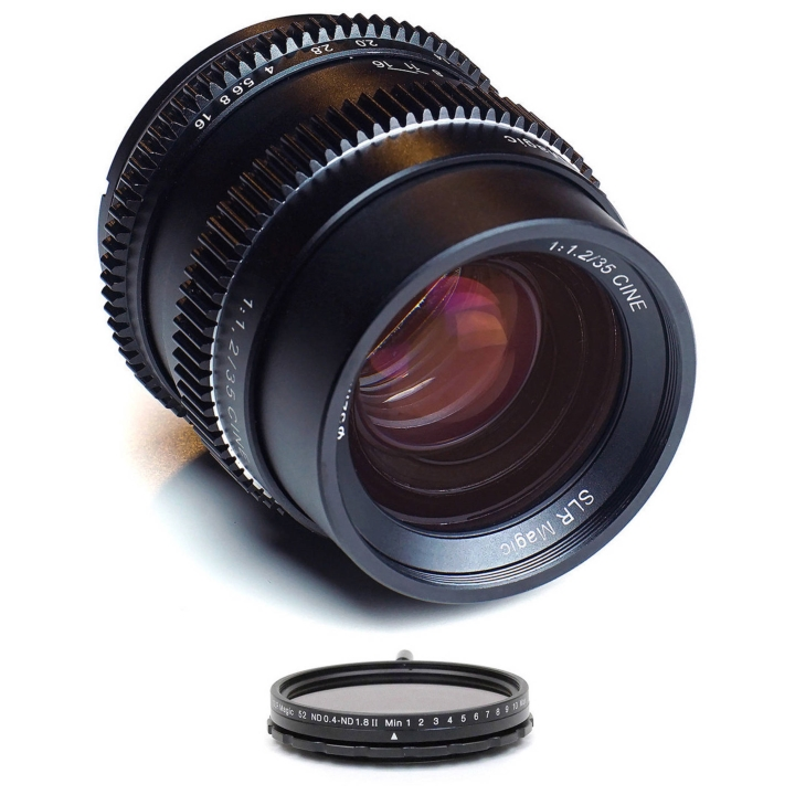 SLR Magic CINE Bundle 35mm f/1.2 Lens & 52mm Variable ND ND (II) for Sony E-Mount