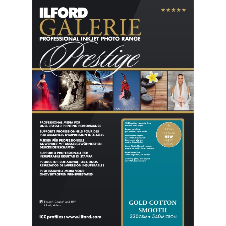 Ilford Galerie Gold Cotton Smooth 330gsm A3 29.7x42cm 25 Sheets GPGCS