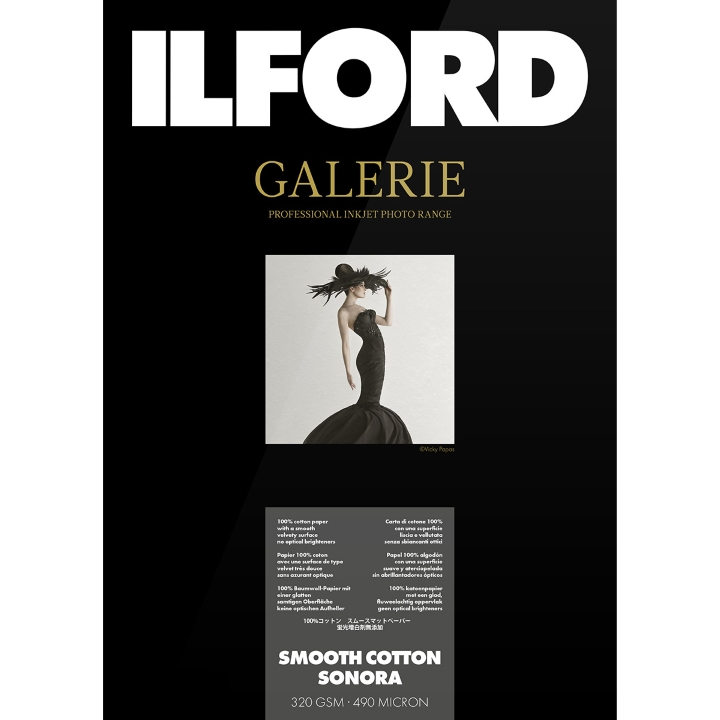 Ilford Galerie Smooth Cotton Sonora 320gsm A2 42cm x 59.4cm 25 sheets