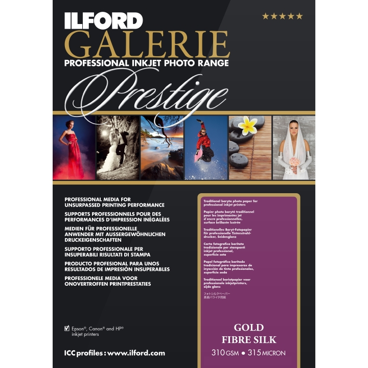 Ilford Galerie Gold Fibre Silk 310gsm A3 25 Sheets