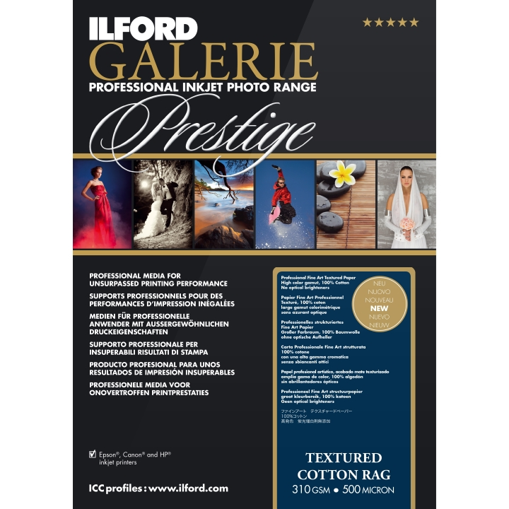 "Ilford Galerie Textured Cotton Rag 310gsm 11.7x16.5"" A3 29.7x42cm 25 Sheets GPTC19"