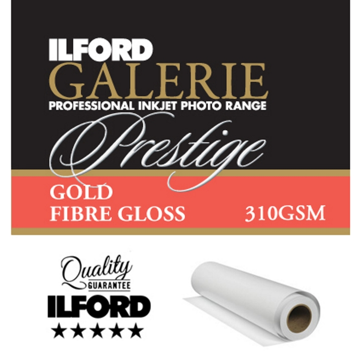 "Ilford Galerie Gold Fibre Gloss 310gsm 17"" 43.2cmx12m Roll GPGFG"