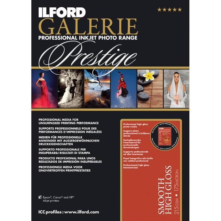 Ilford Galerie Prestige Smooth High Gloss 215gsm A3+ 25 Sheets GPSHG7