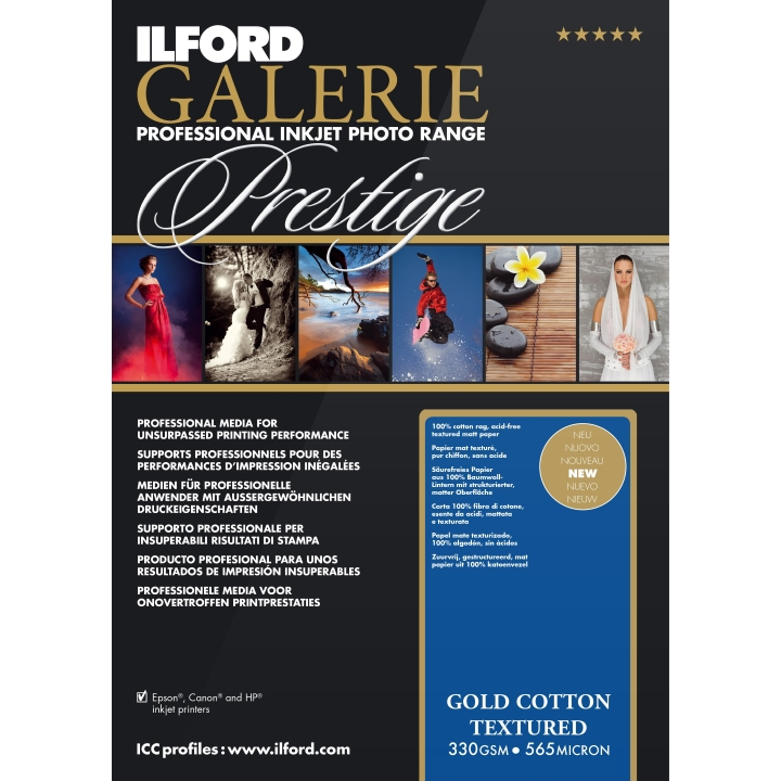 Ilford Galerie Gold Cotton Textured Photo Paper Rolls (330 GSM)