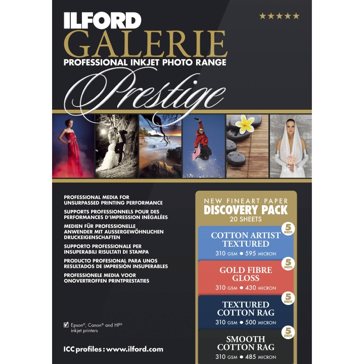 Ilford Galerie Prestige Fine Art Discovery Pack A3+ 20 Sheets***