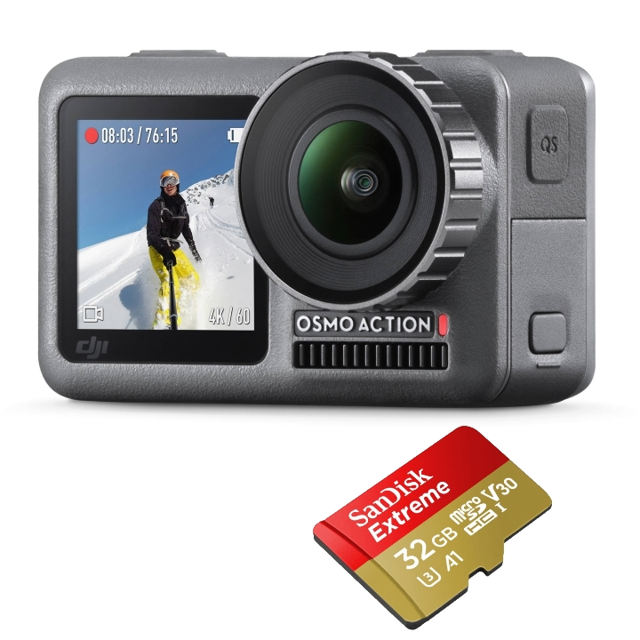 DJI Osmo Action & Sandisk 32GB Extreme Micro SD Card