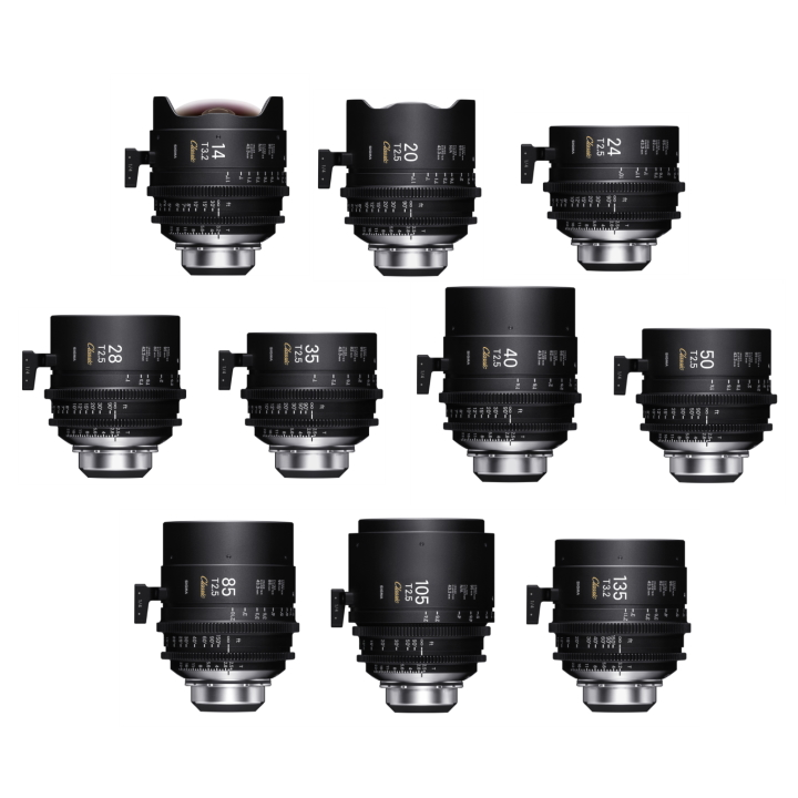 Sigma 10 Cine Lens Classic Kit 14/20/24/28/3540/50/85/105/135 PMC-002+PMC-005 PL Ft /i-Techn