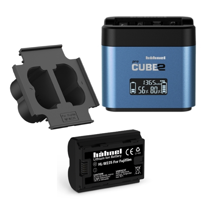 Hahnel Pro Cube 2 Charger for Pana/Fuji + Plate for NP-W235+ Digital Still Batt NP-W235