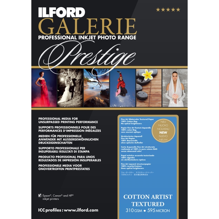 "Ilford Galerie Cotton Artist Textured 310gsm 13x19"" A3+ 25 Sheets GPCAT23"