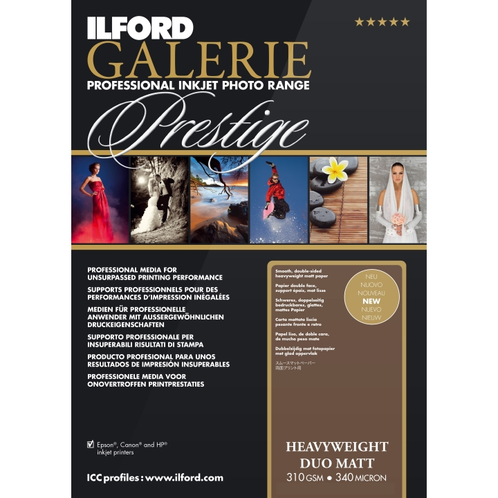 Ilford Galerie Prestige Heavy Weight Duo Matt 310gsm A4 50 Sheets GPHWM