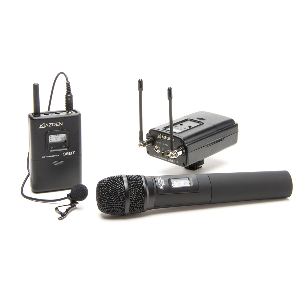 Azden 330LH UHF On-Camera Hand-Held & Body-Pack System 566.125-589.875 MHz Tx-Rx Kit