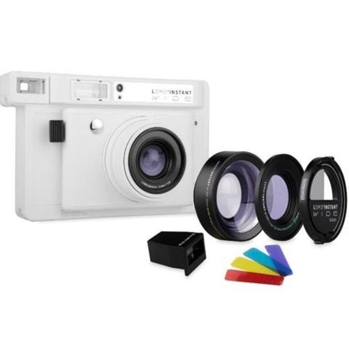 Lomography Lomo'Instant Wide Camera, 2 Lenses & Splitzer (White)