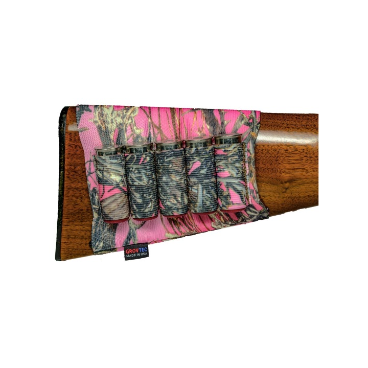 Grovtec Buttstock Cartridge Shell Holder Shotgun Open Style (TrueTimber Pink Camo)