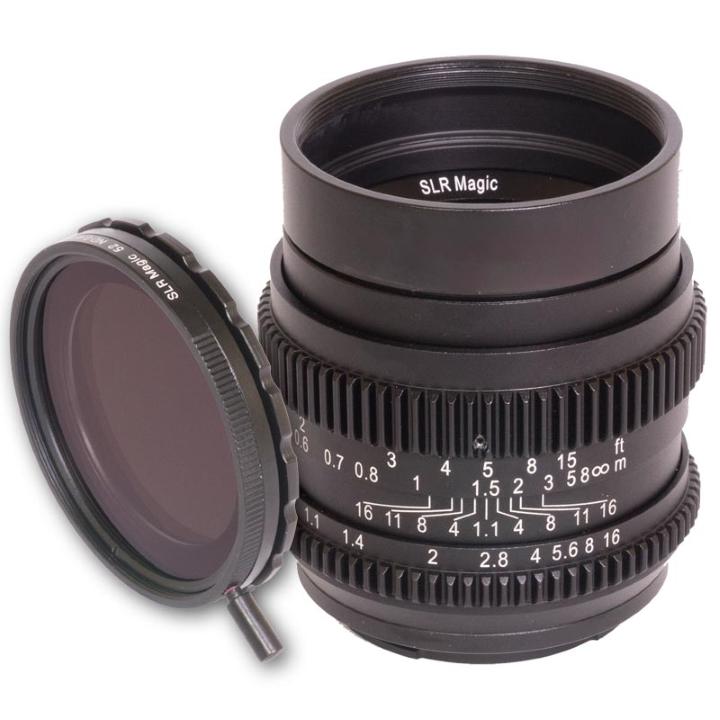 SLR Magic CINE Bundle 50mm F1.1 lens & 52mm variable ND (II) E Mount