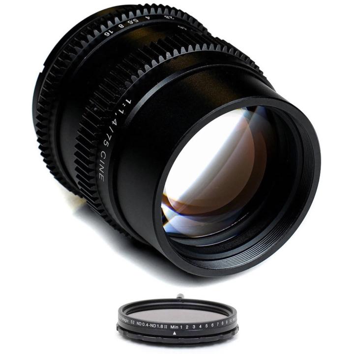 SLR Magic CINE Bundle 75mm F/1.4 lens & 52mm variable ND (II) E Mount