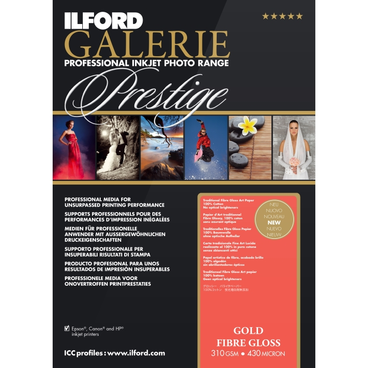 Ilford Galerie Gold Fibre Gloss 310gsm A3 25 Sheets