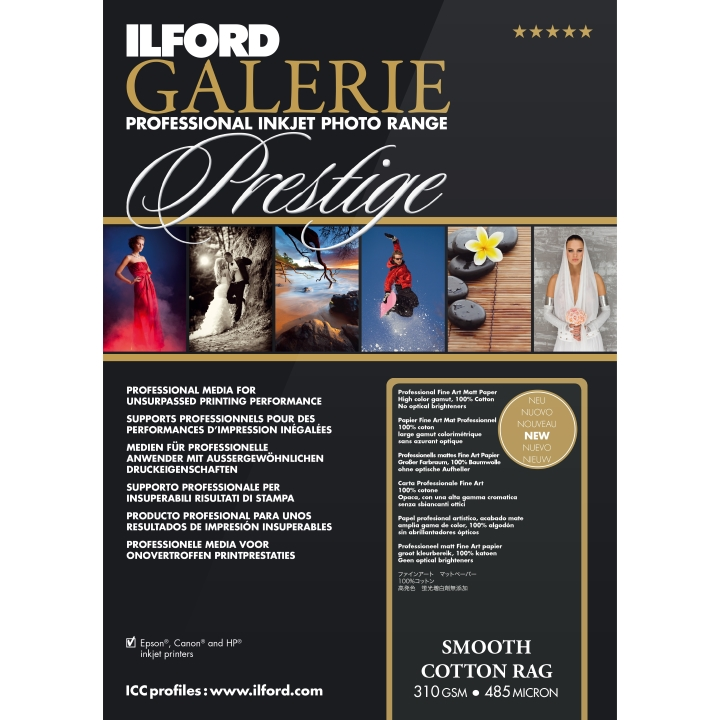 """Ilford Galerie Smooth Cotton Rag 310gsm 16.5x23.4"""" A2 42x59.4cm 25 Sheets GPSC19"""