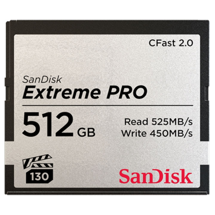 SanDisk Extreme Pro CFast 2.0 CFSP 512GB VPG130 525MB/s R 450MB/s W 4x6