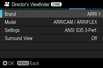 Director's viewfinder interface